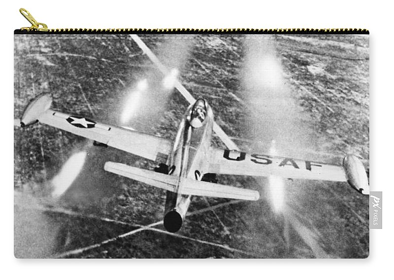 1949 Carry-all Pouch featuring the photograph F-84 Thunderjet, 1949 by Granger