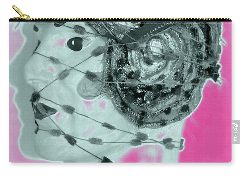 Heads Carry-all Pouch featuring the mixed media Faced With Doubt by Karen Elzinga