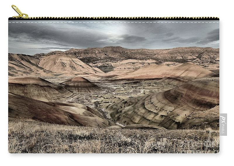 John Day Fossil Beds Carry-all Pouch featuring the photograph Faded Painted Hills by Adam Jewell