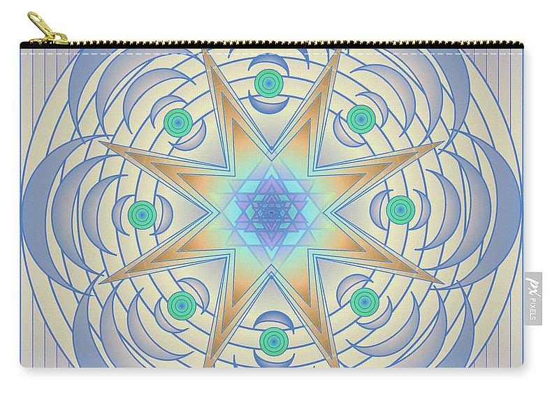 Mandala Art Carry-all Pouch featuring the digital art Fading Geometrics by Mario Carini