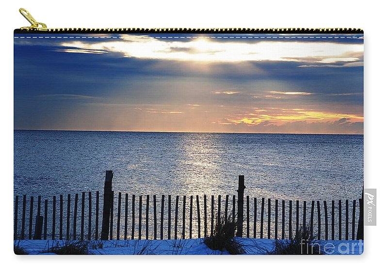 Beautiful Sunrise Snowy Jersey Shore Winter Cold Seaside Heights Beach Carry-all Pouch featuring the photograph Hope Is On The Horizon by Daniel Diaz