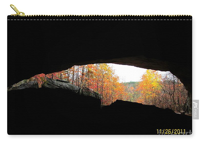 Cave Carry-all Pouch featuring the photograph Fall At The Cave by Kim Henderson