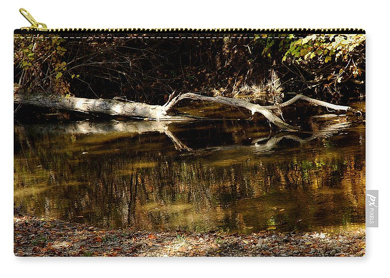 Usa Carry-all Pouch featuring the photograph Fall Log Reflection by LeeAnn McLaneGoetz McLaneGoetzStudioLLCcom