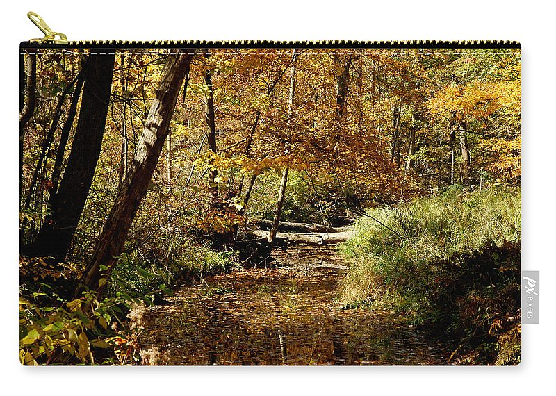 Landscapes Carry-all Pouch featuring the photograph Fall River Colors by LeeAnn McLaneGoetz McLaneGoetzStudioLLCcom