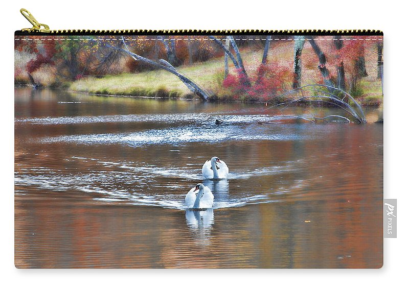 Swans Pair Fall Autumn Color Water Pond Scenic Carry-all Pouch featuring the photograph Fall Swans by Alice Gipson