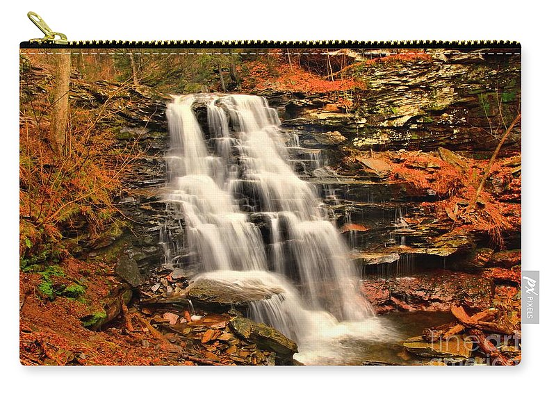 Ricketts Glen Carry-all Pouch featuring the photograph Falls In The Woods by Adam Jewell