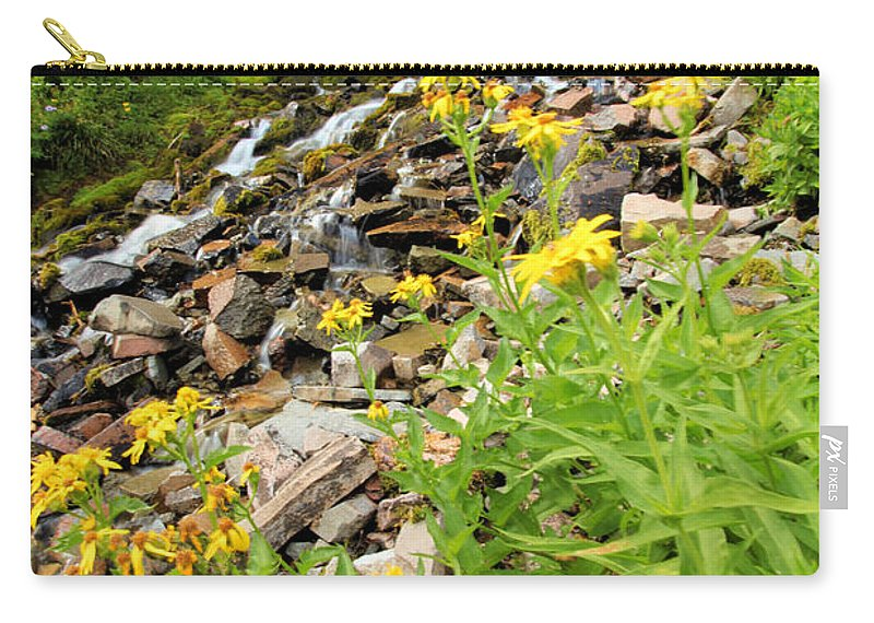 Vidae Falls Carry-all Pouch featuring the photograph Falls To The Flowers by Adam Jewell