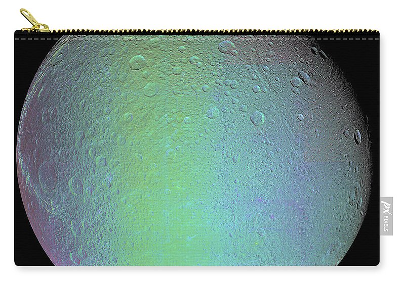 Basin Carry-all Pouch featuring the photograph False Color View Of Saturns Moon Dione by Stocktrek Images