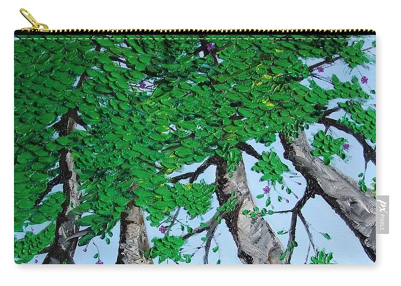 Landscape Carry-all Pouch featuring the painting Family Trees by Alfie Borg