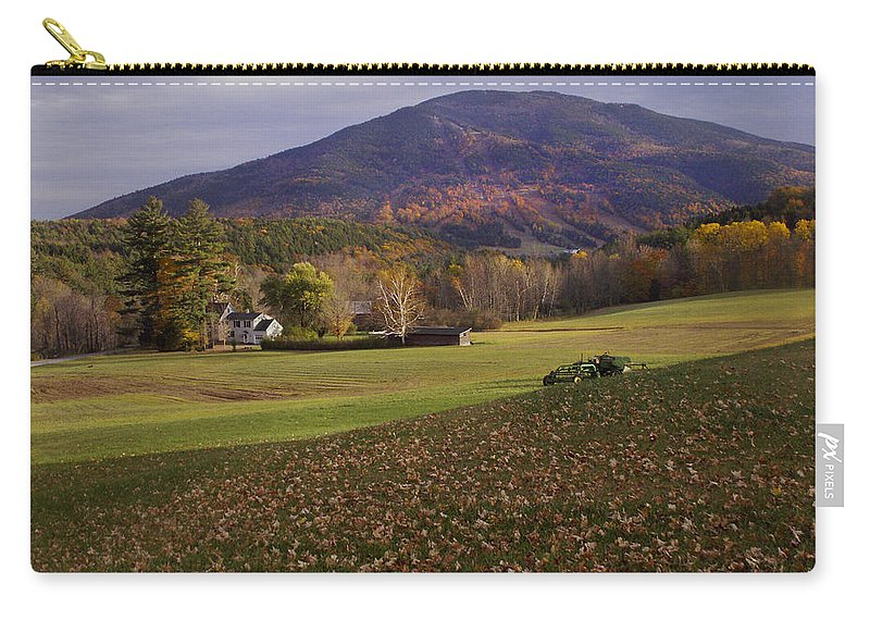 Farm Carry-all Pouch featuring the photograph Farm By Ascutney Mountain Vermont by Nancy Griswold