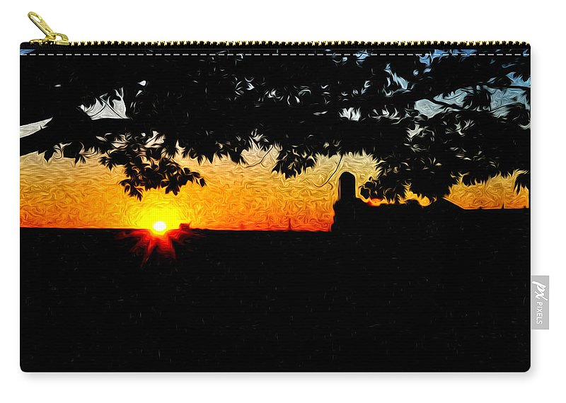 Farm Sunrise Carry-all Pouch featuring the photograph Farm Sunrise by Bill Cannon