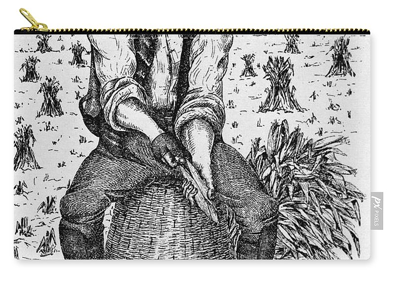 1890 Carry-all Pouch featuring the photograph Farming: Corn Husker by Granger