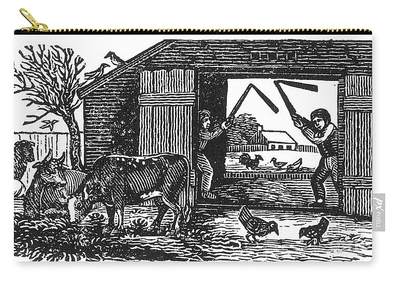 19th Century Carry-all Pouch featuring the photograph Farming: Threshing by Granger