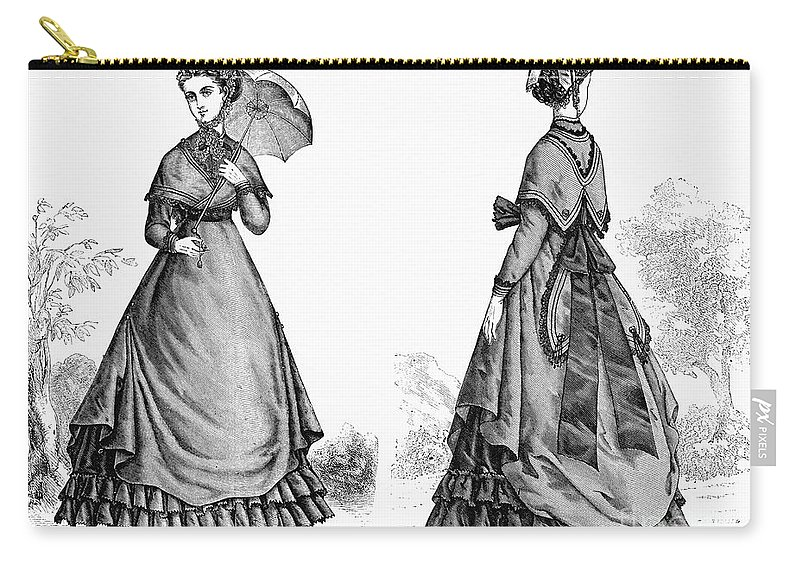 1868 Carry-all Pouch featuring the photograph Fashion: Women, 1868 by Granger