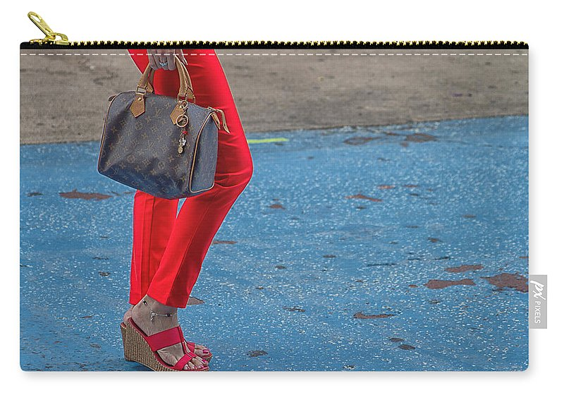 Red Carry-all Pouch featuring the photograph Fashionably Red by Karol Livote