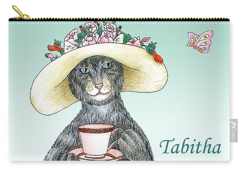 Cat Carry-all Pouch featuring the drawing Feline Finery - Tabitha by Alison Stein