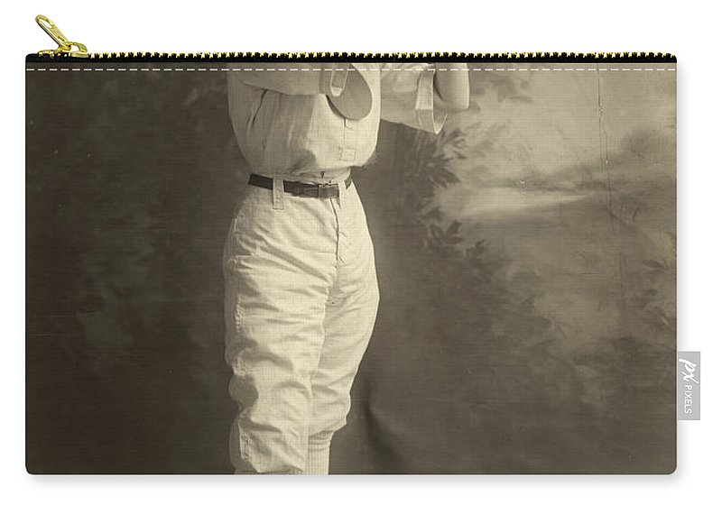 1913 Carry-all Pouch featuring the photograph Female Baseball Player by Granger