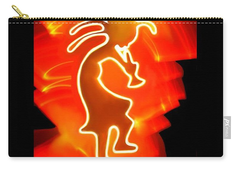 Light Art Carry-all Pouch featuring the mixed media Female Kokopelli by Mark Bell