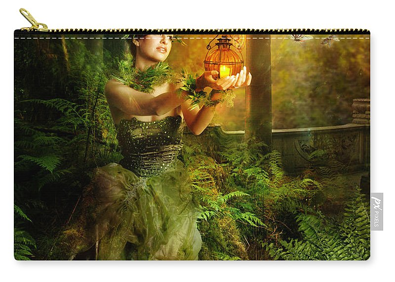 Green Carry-all Pouch featuring the digital art Fern by Karen Koski