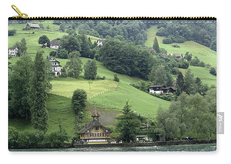 Alps Carry-all Pouch featuring the photograph Few Houses On The Slope Of Mountain Next To Lake Lucerne by Ashish Agarwal