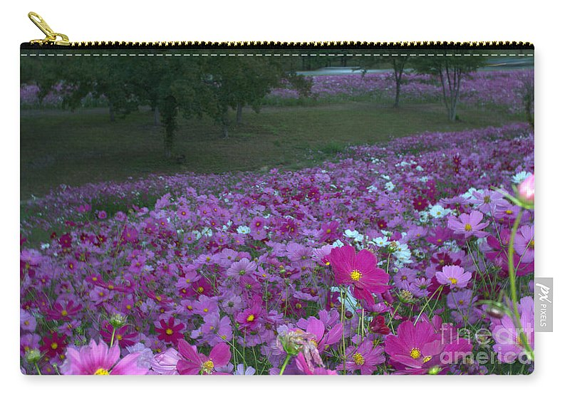 Wild Flowers Carry-all Pouch featuring the photograph Field Of Flowers Along The Highway by Donna Brown
