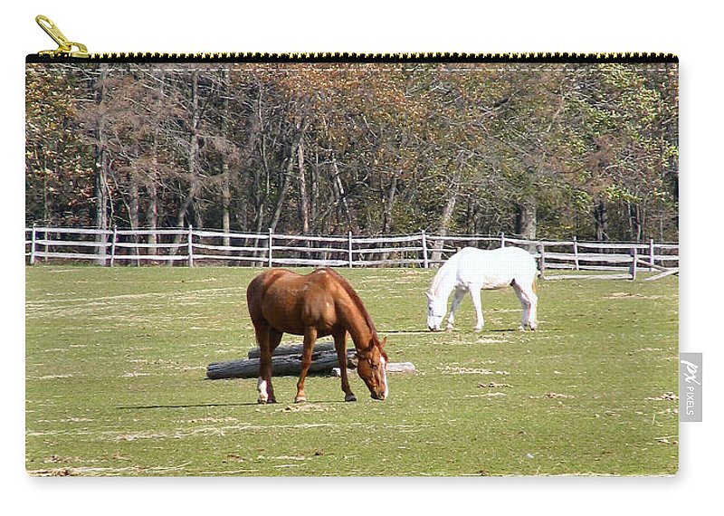 Horse Carry-all Pouch featuring the photograph Field Of Horses by Art Dingo