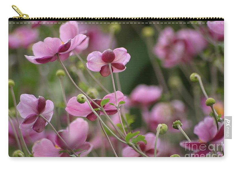 Floral Carry-all Pouch featuring the photograph Field Of Japanese Anemones by Living Color Photography Lorraine Lynch