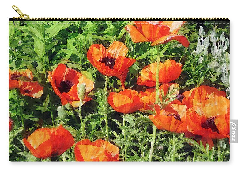 Poppy Carry-all Pouch featuring the photograph Field Of Red Poppies by Susan Savad