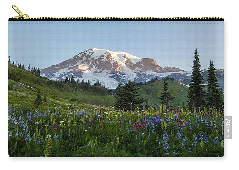 Rainier Carry-all Pouch featuring the photograph Fields Of Beauty by Mike Reid