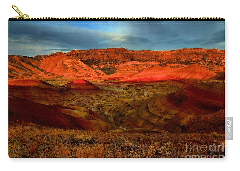 John Day Fossil Beds Carry-all Pouch featuring the photograph Fiery Painted Hills by Adam Jewell
