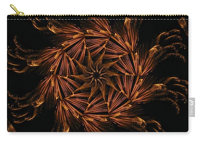 Digital Carry-all Pouch featuring the digital art Fiery Pinwheel by Rhonda Barrett