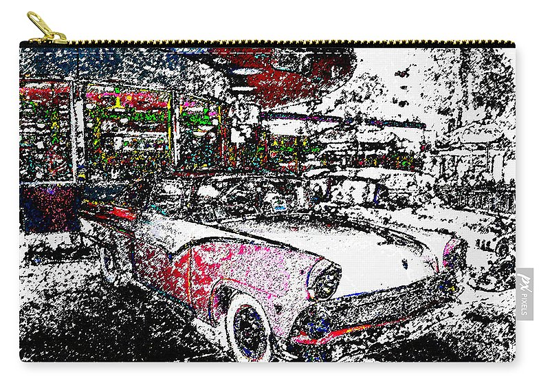 Art Carry-all Pouch featuring the painting Fifties Drive In by David Lee Thompson