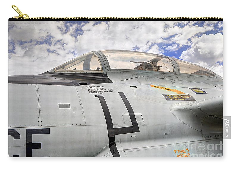 Clouds Carry-all Pouch featuring the photograph Fighter Jet Cockpit by Gary Whitton