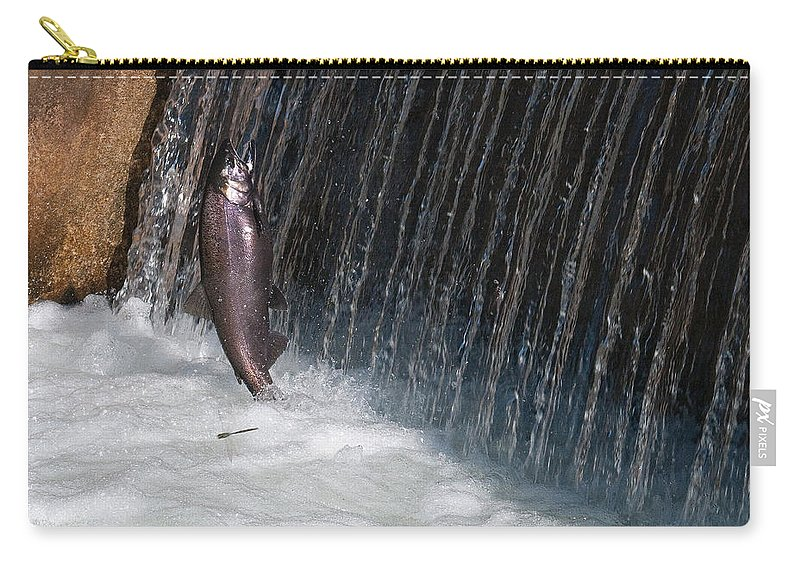 Fish Carry-all Pouch featuring the photograph Fighting Upstream by David Arment