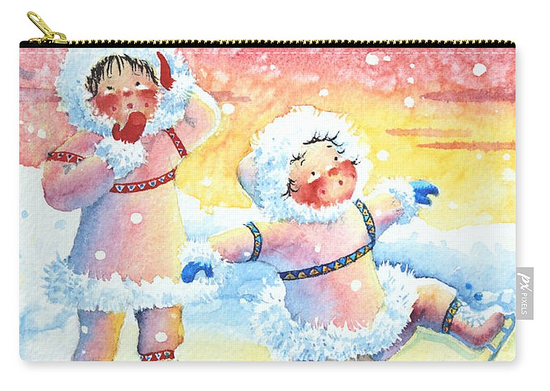 Childrens Book Illustrator Carry-all Pouch featuring the painting Figure Skater 9 by Hanne Lore Koehler