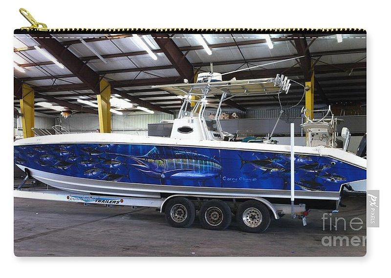 Boat Wrap Carry-all Pouch featuring the digital art Fine Art Boat Wraps by Carey Chen