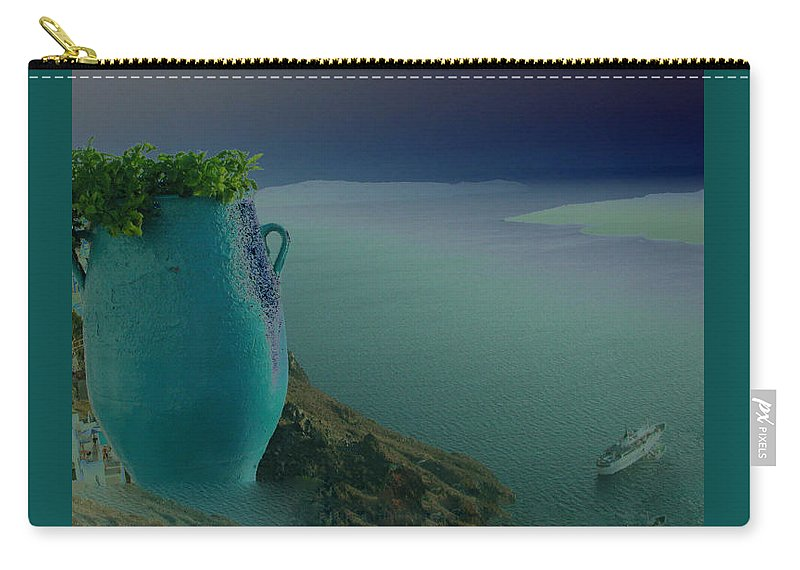 Colette Carry-all Pouch featuring the photograph Fira View Santorini Greece by Colette V Hera Guggenheim