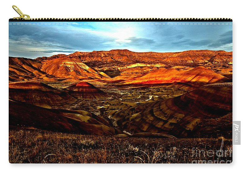John Day Fossil Beds Carry-all Pouch featuring the photograph Fire In The Painted Hills by Adam Jewell