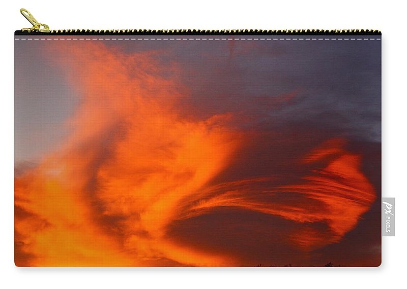 Clouds Carry-all Pouch featuring the photograph Fire In The Sky by Diana Hatcher