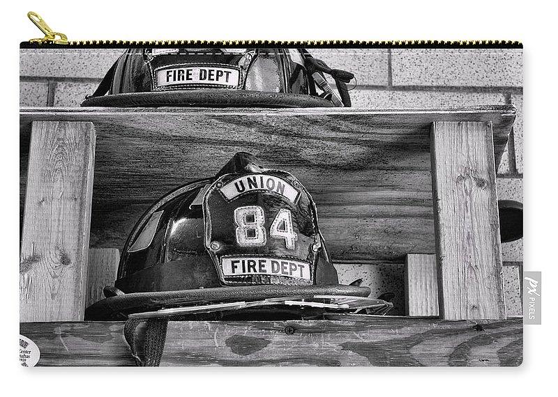 Fireman Carry-all Pouch featuring the photograph Fireman - Fire Helmets by Paul Ward