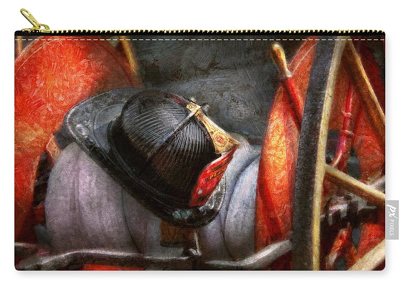 Fireman Carry-all Pouch featuring the photograph Fireman - Hat - South Plainfield Fire Dept by Mike Savad