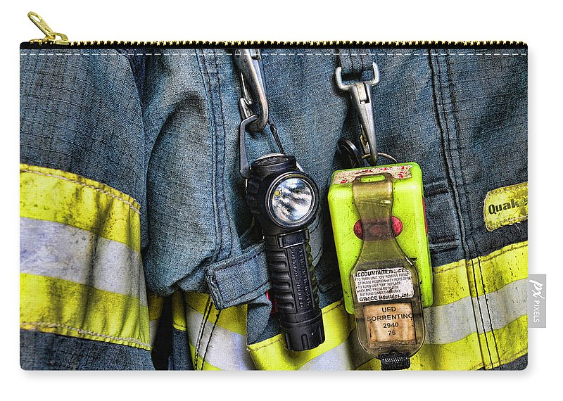 Fireman Carry-all Pouch featuring the photograph Fireman - The Fireman's Coat by Paul Ward