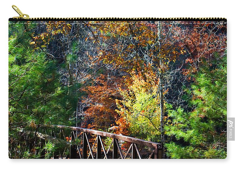 North Carolina Carry-all Pouch featuring the photograph Fire's Creek Bridge by Stephen Warren