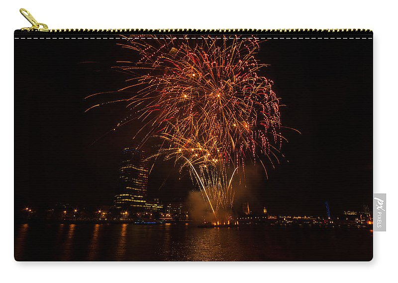 Dawn Oconnor Dawnoconnorphotos@gmail.com Carry-all Pouch featuring the photograph Fireworks On River Thames by Dawn OConnor