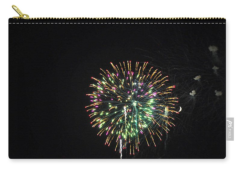 Fireworks Carry-all Pouch featuring the photograph Fireworks With Moon IIi Fm3p by Jim Brage