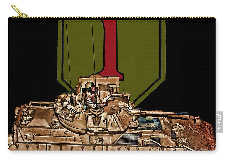 First Infantry Division Carry-all Pouch featuring the digital art First Infantry Division Bradley Fighting Vehicle by Tommy Anderson