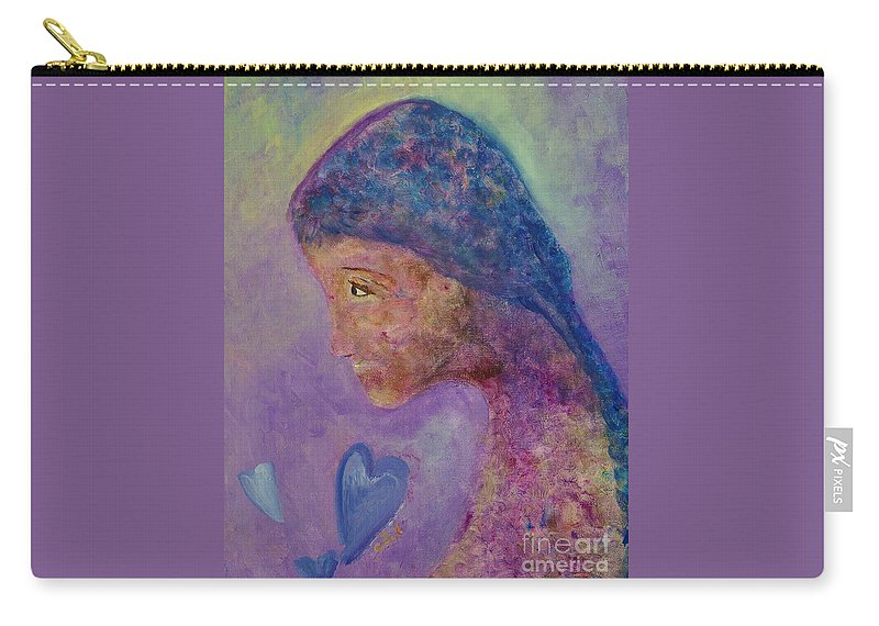Girl Carry-all Pouch featuring the painting First Love by Claire Bull