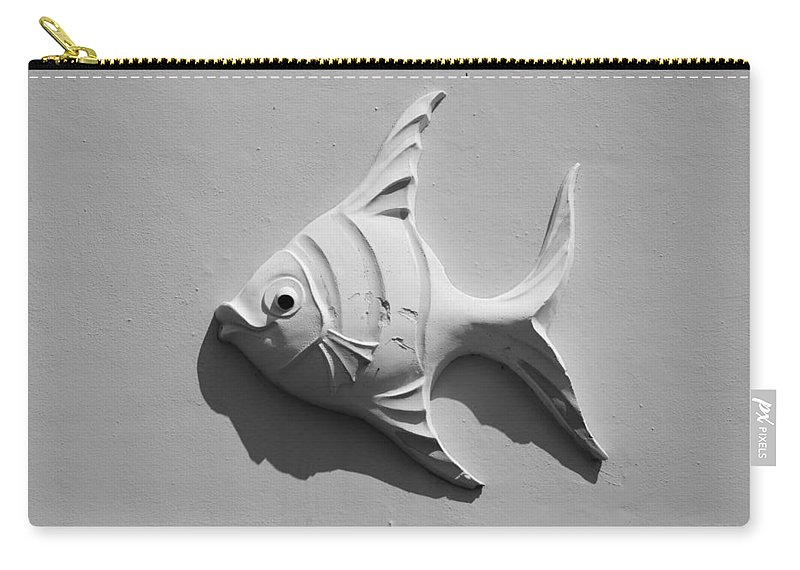 Fish Carry-all Pouch featuring the photograph Fish And Shadow Face In Black And White by Rob Hans