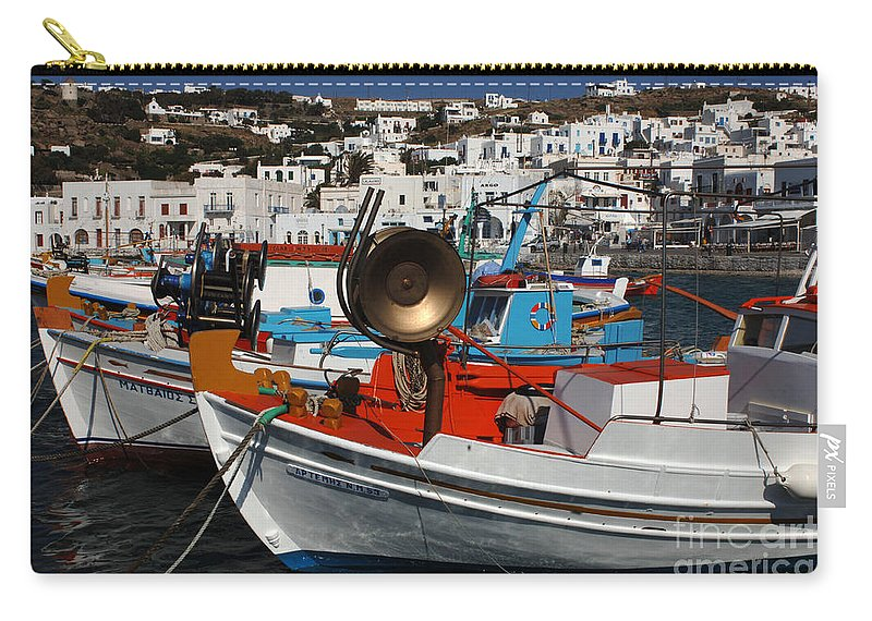 Greece Carry-all Pouch featuring the photograph Fishing Boats Mykonos by Bob Christopher