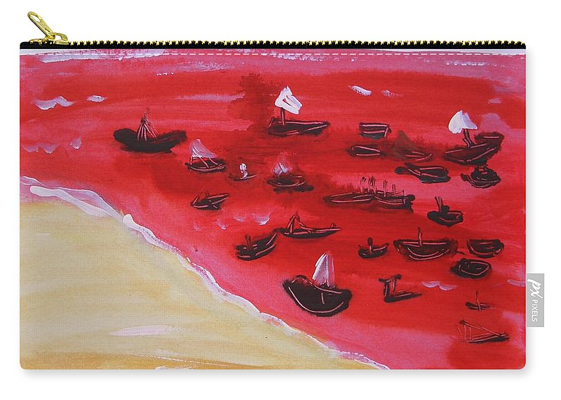 Red Sea Carry-all Pouch featuring the painting Fishing Boats On A Red Sea by Mary Carol Williams